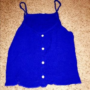 Royal blue cropped tank with buttons 💋